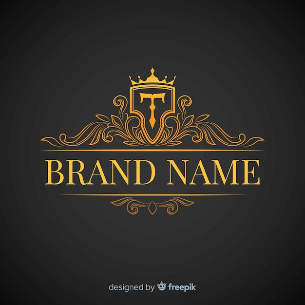 Estilo simples de logotipo elegante dourado Vetor grátis