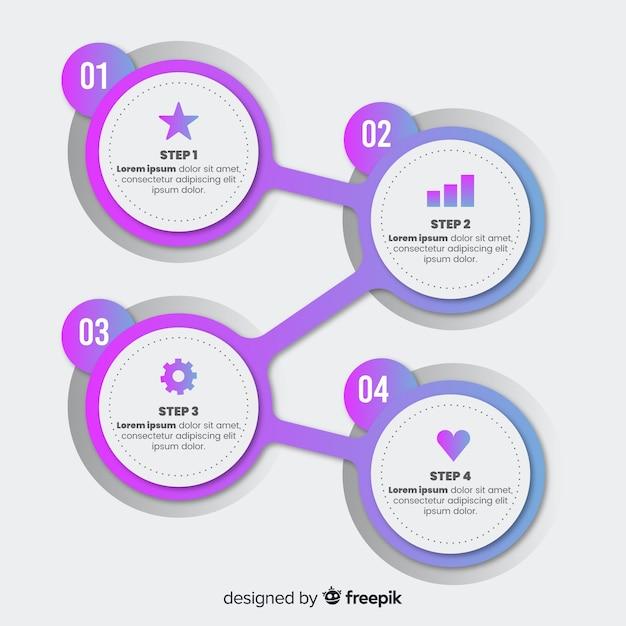 Estilo simples de modelo de etapas infográfico Vetor grátis