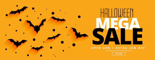 Estilo simples halloween mega venda amarelo banner Vetor grátis