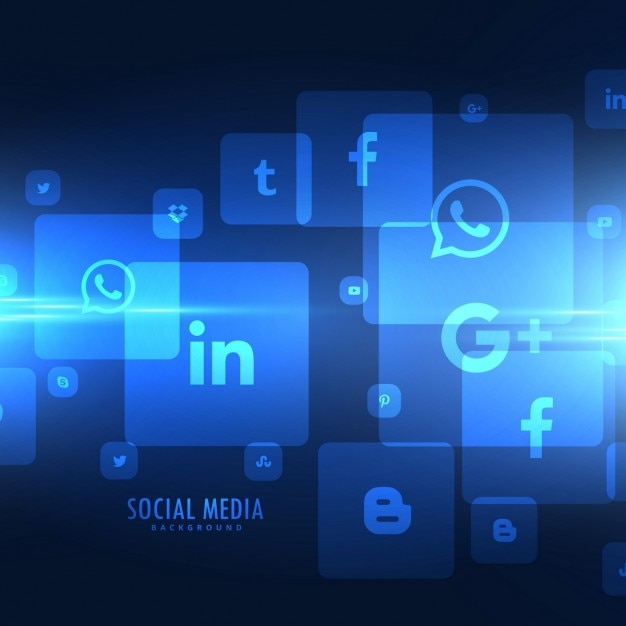 Estilo techno ícones de mídia social fundo Vetor grátis
