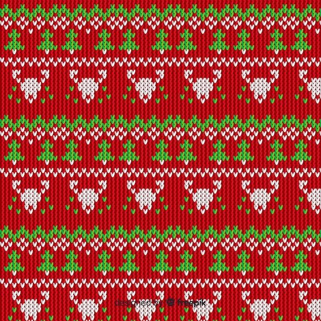 Estilo vintage de malha padrão de natal Vetor grátis