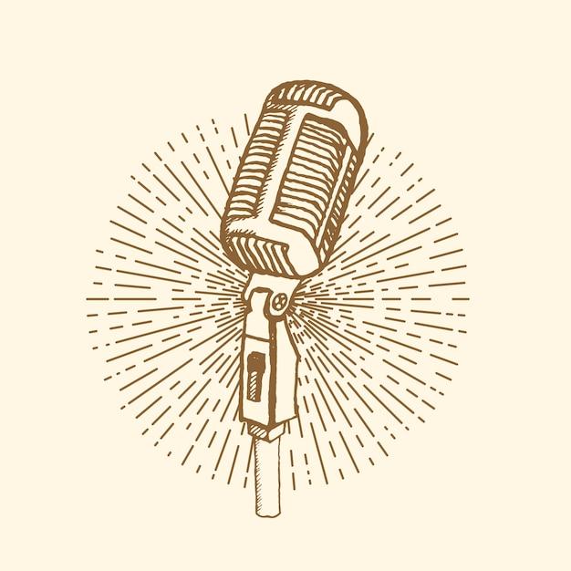 Estilo vintage de microfone Vetor Premium