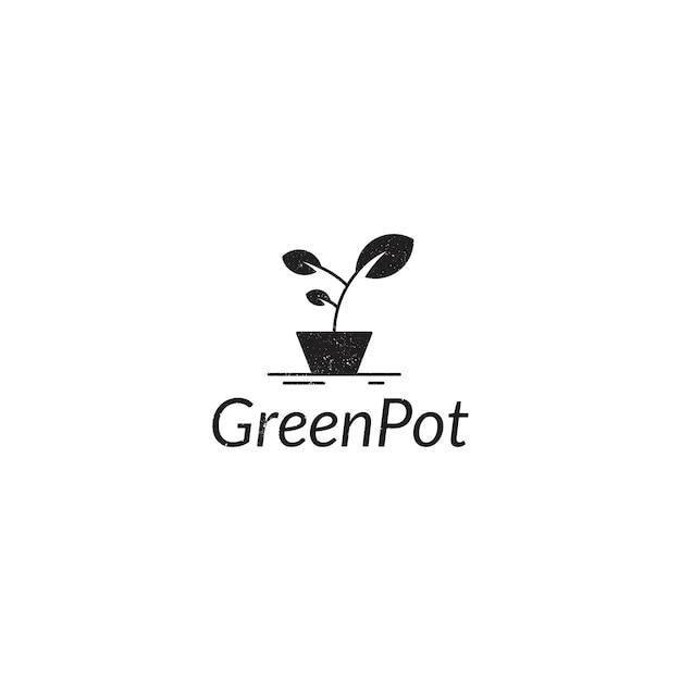 Estilo vintage pote verde Vetor Premium