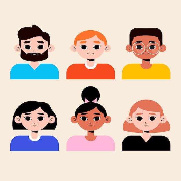 Estilos de avatares para diferentes homens e mulheres Vetor grátis