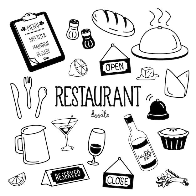 Estilos de desenho de mão para itens de restaurante. restaurante doodle. Vetor Premium
