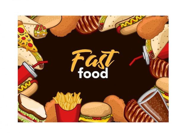 Estoque, vetorial, jogo, rapidamente, alimento, bebida, objeto Vetor Premium