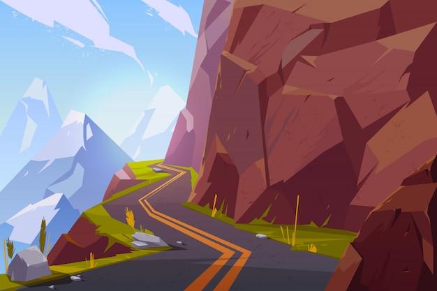 Estrada asfaltada da montanha, estrada vazia do enrolamento encaracolado na paisagem rochosa do campo das horas de verão. Vetor grátis