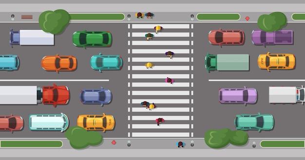 Estrada com carros na frente da zona pedonal com pessoas andando. Vetor Premium