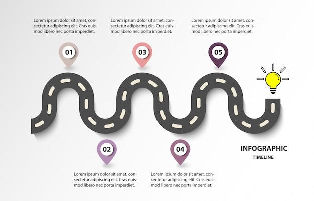 Estrada da linha do tempo de negócios com 5 opções para lâmpada. design moderno para o vetor. Vetor Premium