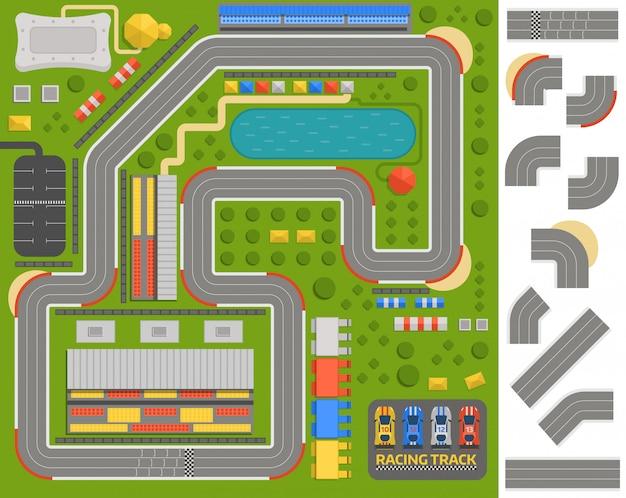 Estrada de curva de pista de corrida Vetor Premium