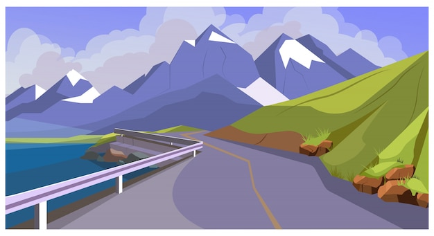 Estrada de montanha com ilustração de trilhos Vetor grátis