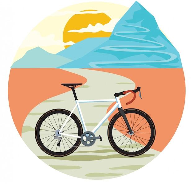 Estrada de montanha sinuosa sol e bicicleta de estrada Vetor Premium