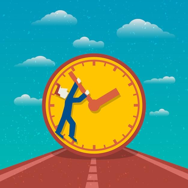 Estrada de planejamento de dia de gerenciamento de tempo para o cartaz de sucesso com relógio e homem personagem de desenho animado ilustração vetorial plana Vetor Premium
