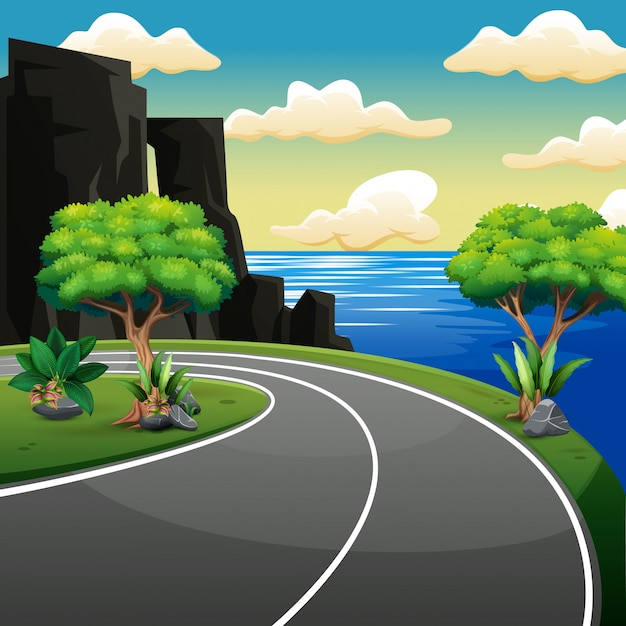 Estrada lateral do país perto da praia e mar tropical Vetor Premium