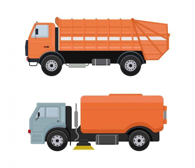 Estrada limpeza máquina vector veículo caminhão vassoura limpador lavagem Vetor Premium
