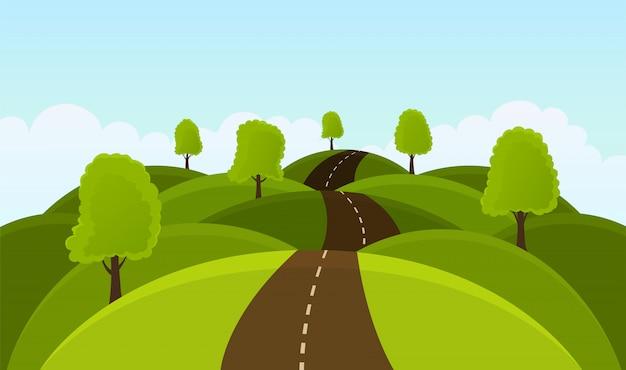 Estrada nas colinas entre árvores e prados. Vetor Premium