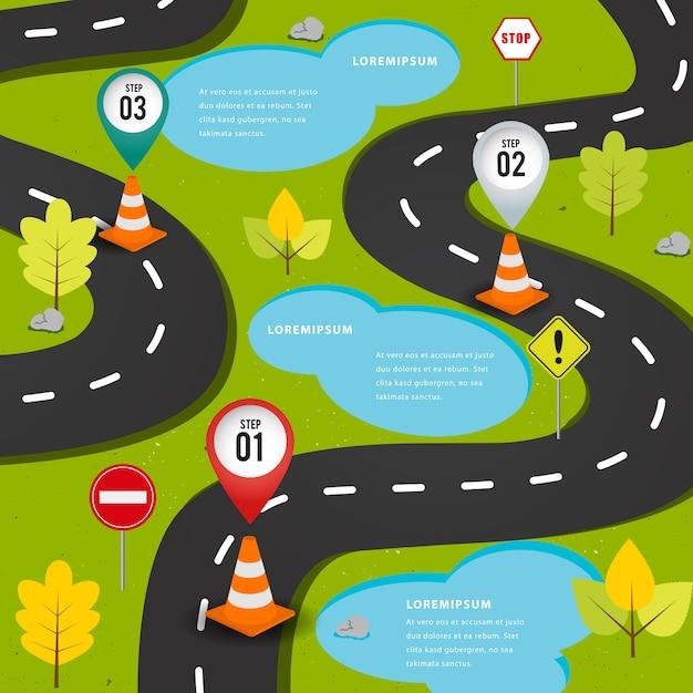 Estrada no infográfico de elemento de forma. Vetor Premium