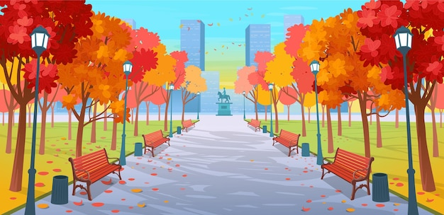 Estrada panorâmica através do parque outono com bancos, árvores, lanternas e um monumento. ilustração em vetor de outono em uma rua da cidade em estilo cartoon. Vetor Premium