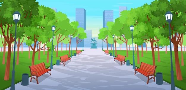 Estrada panorâmica sobre o parque de verão com bancos, árvores, lanternas e um monumento. ilustração em vetor de rua de cidade de verão em estilo cartoon. Vetor Premium