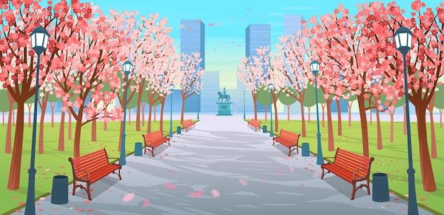 Estrada panorâmica sobre o parque primavera com bancos, árvores floridas, lanternas e um monumento. ilustração em vetor de rua da cidade de primavera em estilo cartoon. Vetor Premium