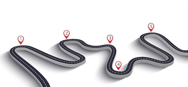 Estrada sinuosa em branco Vetor Premium