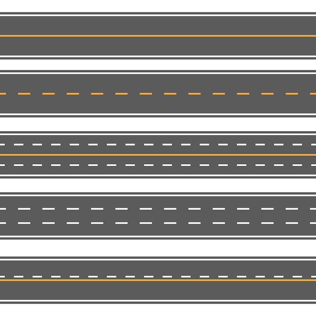 Estradas retas sem costura horizontais Vetor Premium
