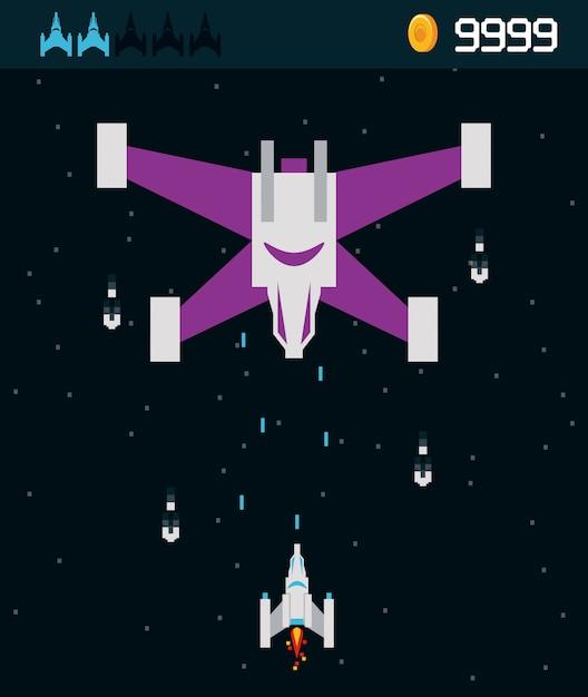 Estrangeiro da nave espacial do videogame Vetor Premium