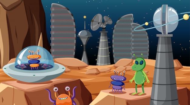 Estrangeiros na cena do espaço ou no fundo Vetor grátis