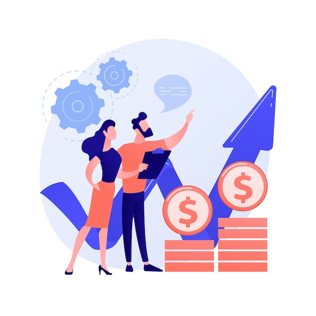 Estratégia de aumento de receita. gestão de negócios, estatísticas de corretores de ações, previsão de financiadores. especialistas em mercado financeiro analisando taxas de crescimento. Vetor grátis