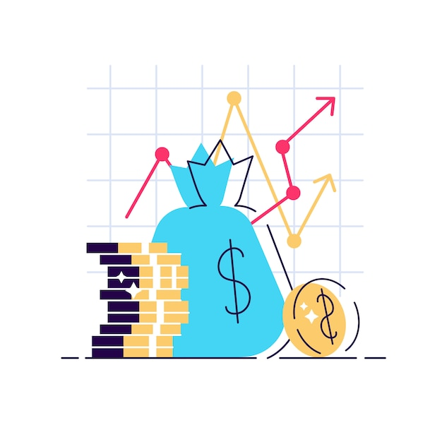 Estratégia de aumento de renda. alto retorno financeiro do investimento, captação de recursos ou taxa de juros de crescimento da receita. Vetor Premium