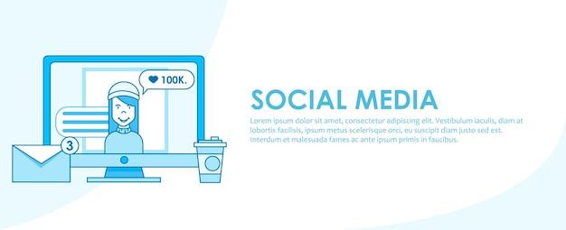 Estratégia de banner de mídia social Vetor grátis