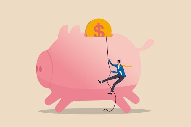 Estratégia de finanças pessoais, imposto de renda ou meta de investimento para o conceito de aposentadoria de trabalhador de escritório, empresário de confiança usando corda para escalar o cofrinho rosa com a moeda de ouro como alvo final. Vetor Premium
