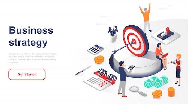 Estratégia de negócios da página de destino isométrica ou marketing Vetor Premium