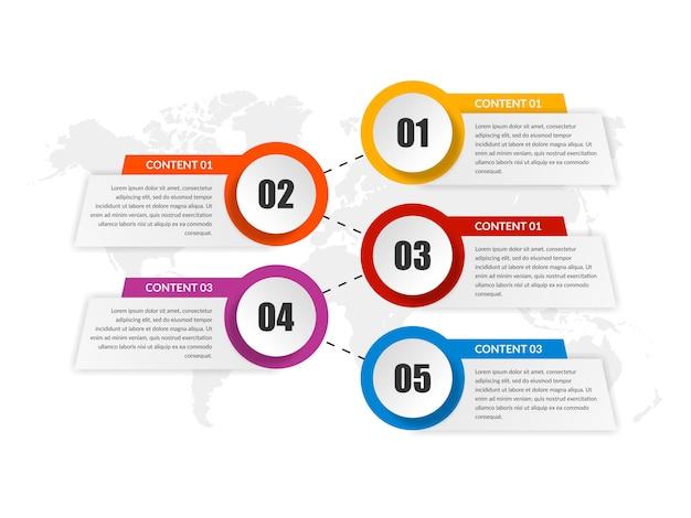 Estratégia de negócios de elemento infográfico de cinco pontos com número Vetor Premium