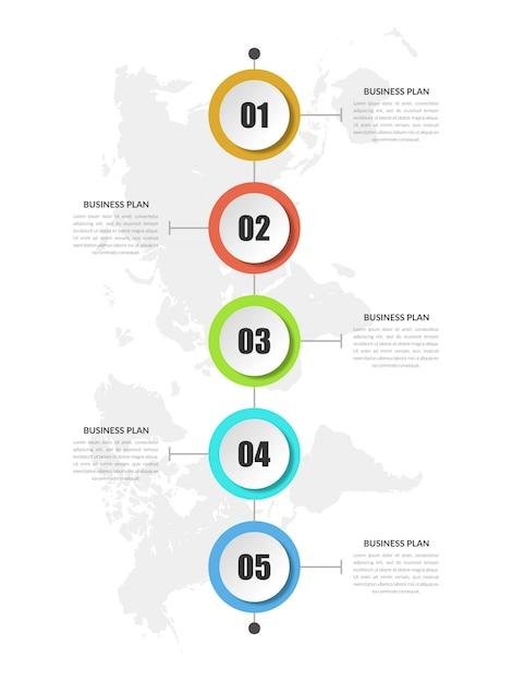 Estratégia de negócios de infográfico de cronograma abstrato de colorfull Vetor Premium