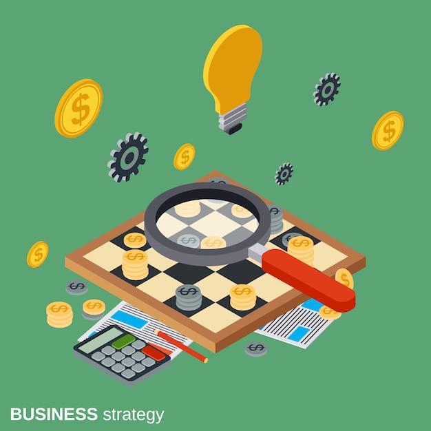 Estratégia de negócios plano isométrico vector conceito ilustração Vetor Premium
