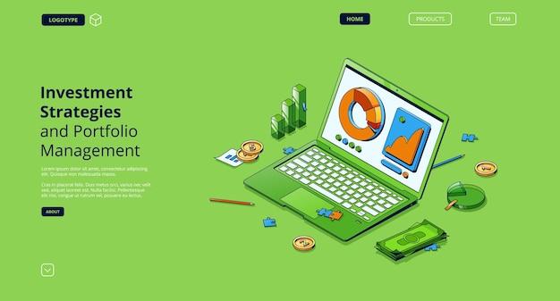 Estratégias de investimento e página de destino isométrica de gerenciamento de portfólio Vetor grátis