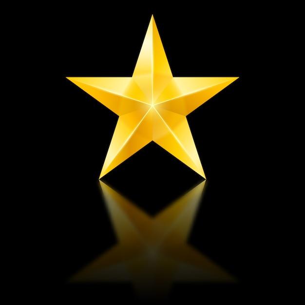 Estrela amarela no preto Vetor Premium