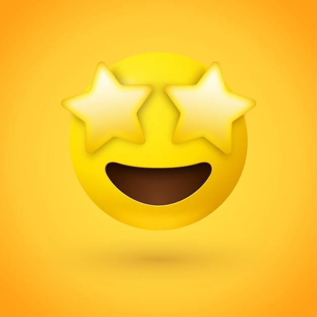 Estrela atingiu face de emoji com olhos de estrelas Vetor Premium