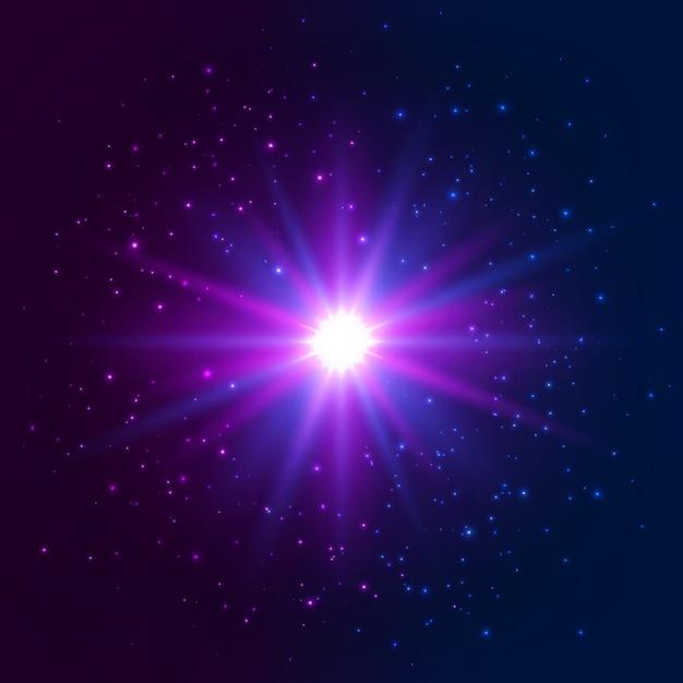 Estrela brilhante. efeito de luz de explosão Vetor Premium
