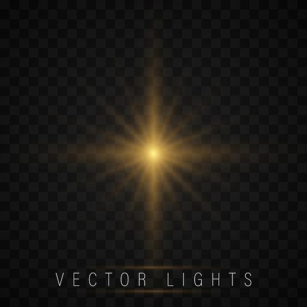 Estrela brilhante, o sol acende com um efeito de destaque. Vetor Premium