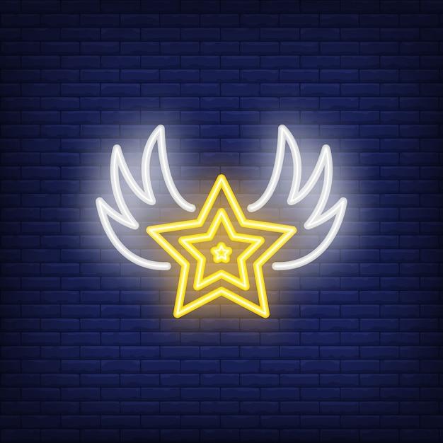 Estrela, com, asas, sinal néon Vetor grátis