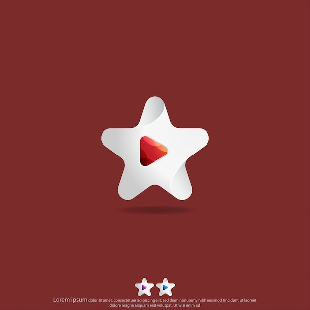 Estrela com botão de jogo logo design vector Vetor Premium