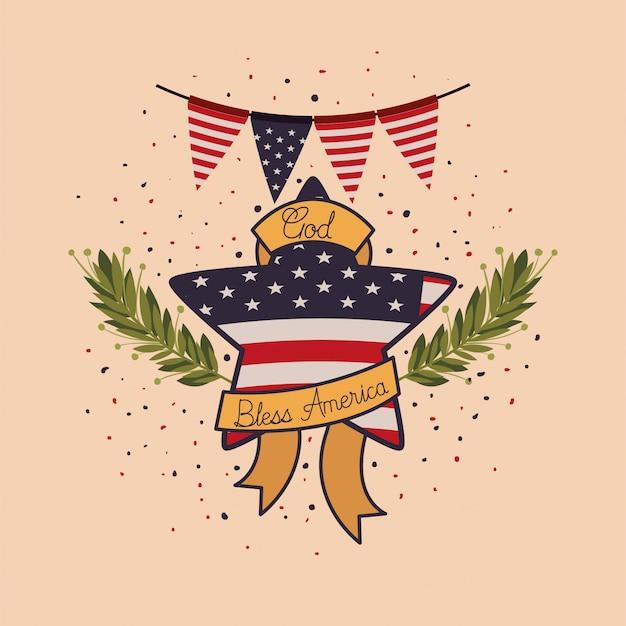 Estrela com coroa e bandeira do eua do emblema do memorial day Vetor Premium
