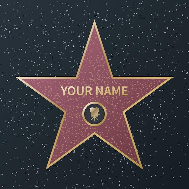 Estrela da calçada da fama de hollywood. celebridade do cinema boulevard oscar award, estrelas de granito para atores famosos, filmes de sucesso, imagem Vetor Premium
