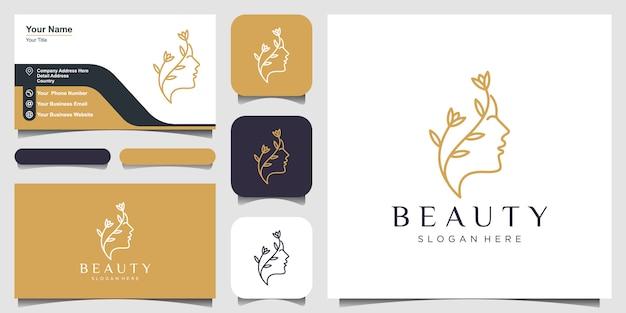 Estrela da flor do rosto de mulher bonita com logotipo de estilo de linha de arte e design de cartão de visita. conceito de design abstrato para salão de beleza, massagem, revista, cosmética e spa. Vetor Premium