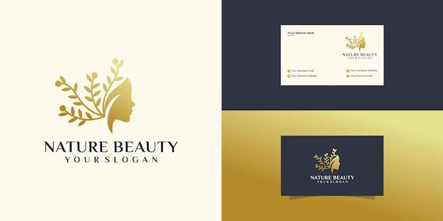 Estrela da flor do rosto de mulher bonita com logotipo de estilo de linha de arte e design de cartão de visita. conceito de design abstrato para salão de beleza, massagem Vetor Premium