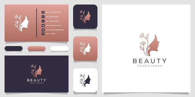 Estrela da flor do rosto de mulher bonita com logotipo de estilo de linha de arte e design de cartão de visita. Vetor Premium