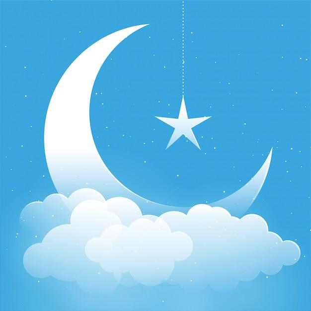 Estrela da lua e fundo de fantasia de nuvens Vetor grátis