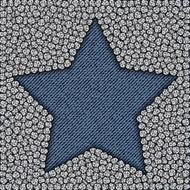Estrela de jeans azul com diamantes Vetor Premium